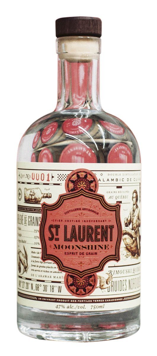 Une bouteille de Distillerie du St. Laurent Moonshine 