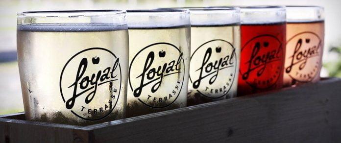 Un planche de dégustation de 3 cidres blancs et de 2 rosés. Chaque verre arbore le logo du bar à cidre Loyal Terrasse