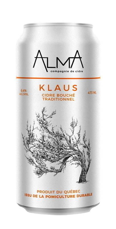 Une canette du Alma, Maison de cidre Klaus - Cidre bouché traditionnel, 6,5 %