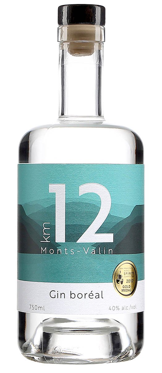 Une bouteille de gin KM12, 40%