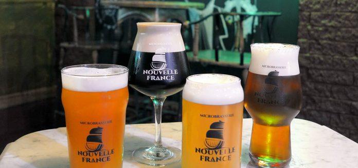 Quatre bières de la microbrasserie Nouvelle-France
