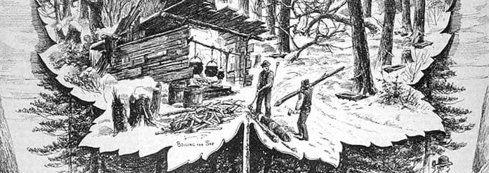 Une gravure représentant les activités traditionelles d'une cabane à sucre d'antan