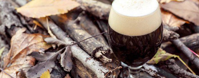 Verre rempli de bière noire sur le sol de la forêt parmi les feuilles et les branches un jour d'automne